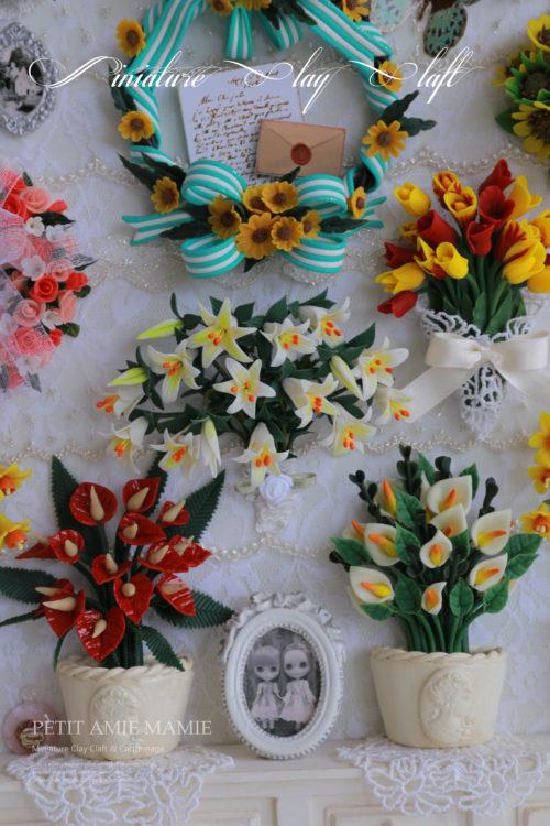 ミニチュアクレイクラフト お花の額の作品です。