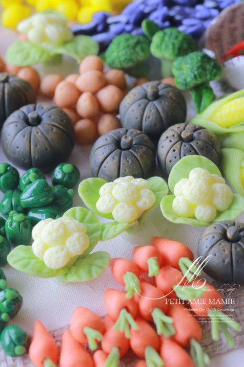 ミニチュア粘土教室 ミニチュアクレイクラフト 野菜の額