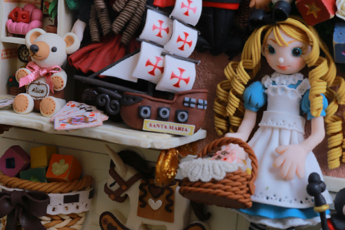 ミニチュアでつくる不思議の国のアリス ミニチュアクレイクラフトおもちゃの額