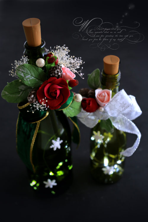 粘土でつくる薔薇をつかったワインボトルホルダー
