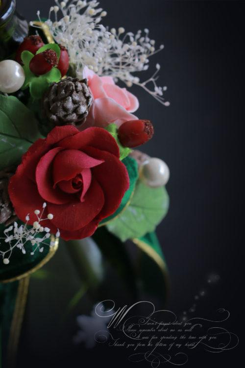 クレイで作る薔薇を使ったワインホルダー