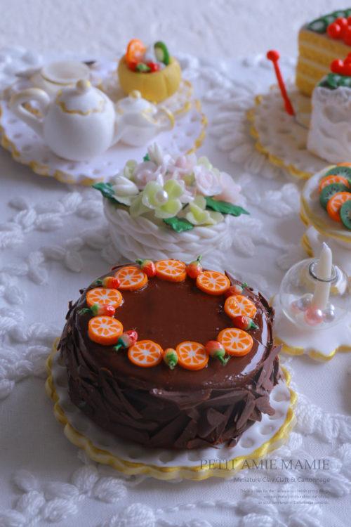 ミニチュアクレイクラフトケーキの額