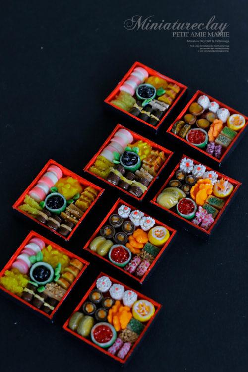 ミニチュア粘土のおせち料理