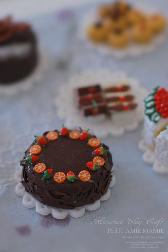 ミニチュアクレイクラフト ケーキの額 ミニチュア粘土