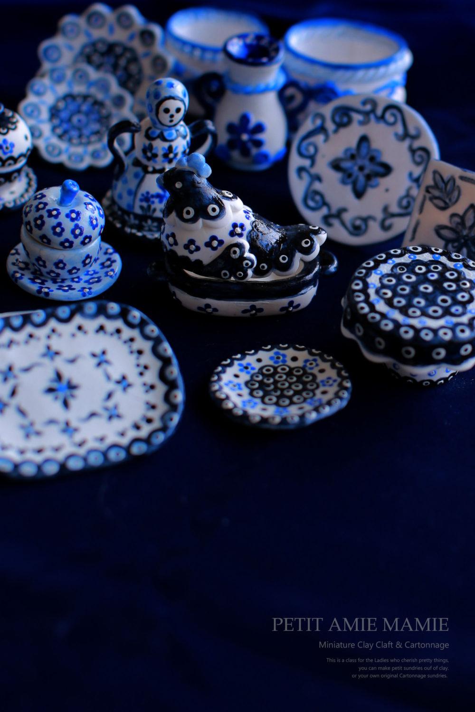 ミニチュアクレイクラフト食器の額 粘土でつくるミニチュア食器