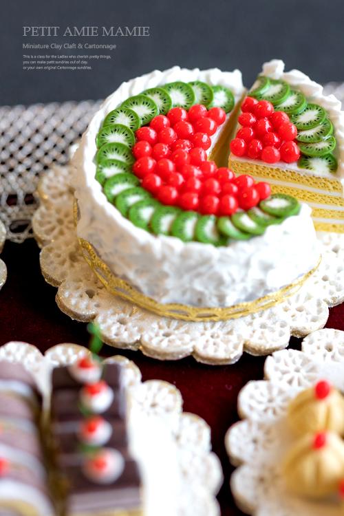 ミニチュアクレイクラフト ケーキの額