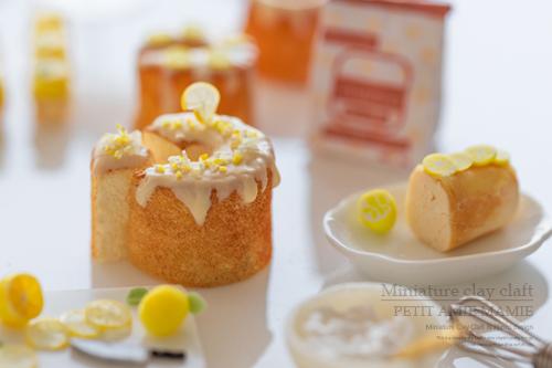 ミニチュアフード ミニチュアスイーツ レモン シフォンケーキ
